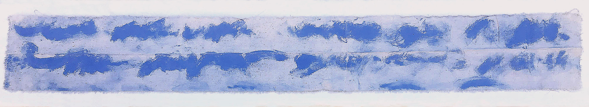 piece of canvas with blue marks made with marking chalk.