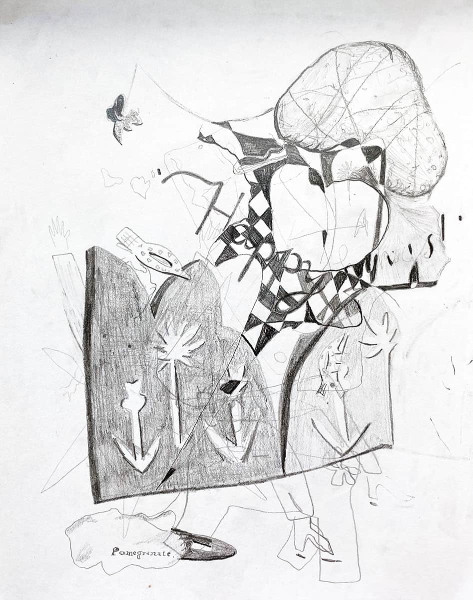 graphite drawing of abstract shapes and patterns.