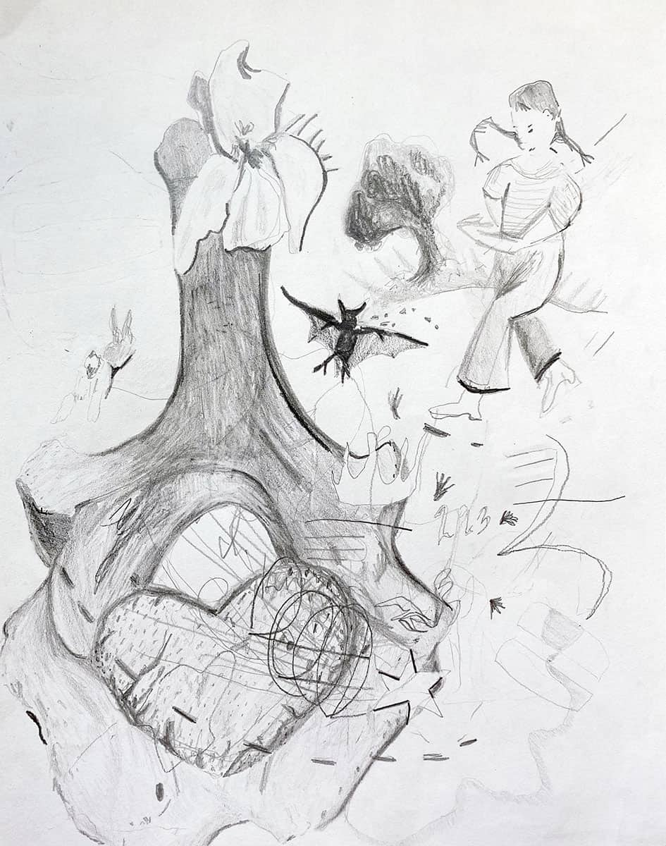 graphite drawing of orchid, bat, figure, abstract shapes.