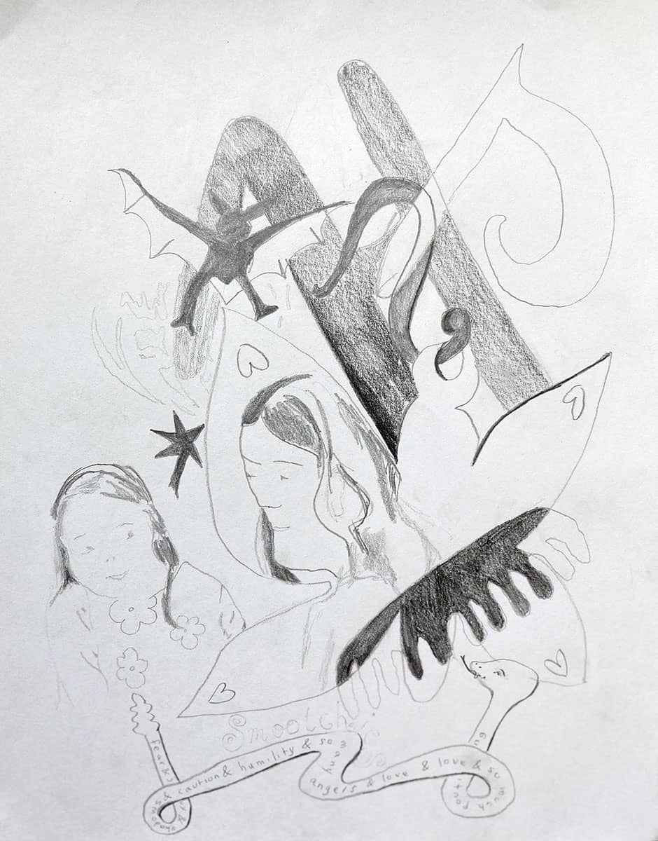 drawing of abstract shapes, two women, snake, bat.