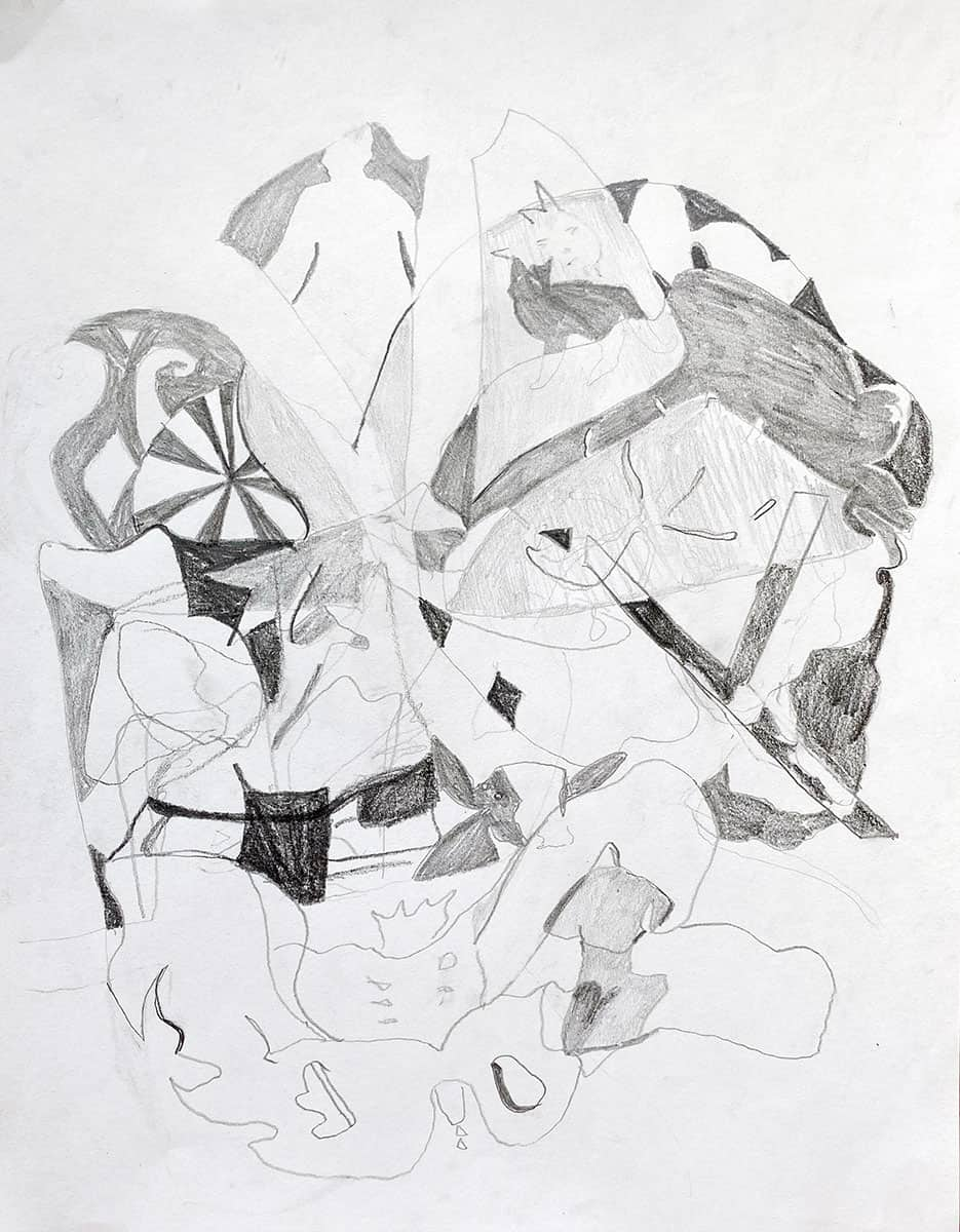graphite drawing combining abstract and figurative shapes.
