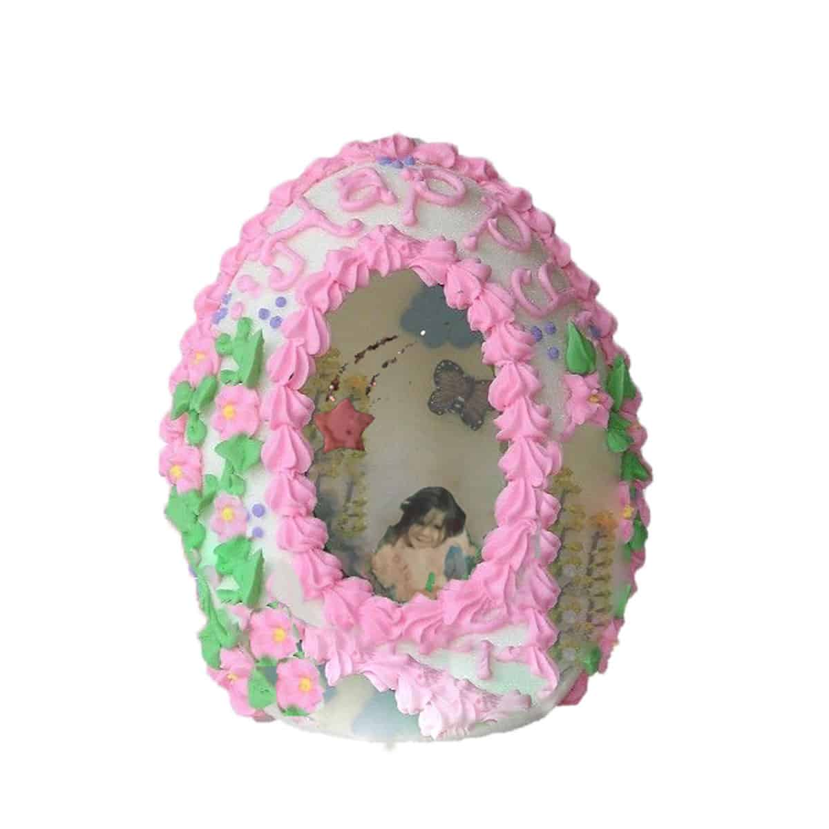 digital collage of sugar easter egg with photograph inside.