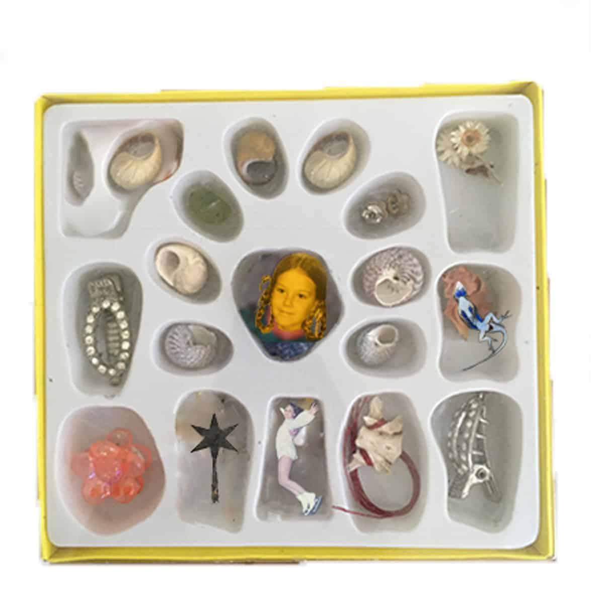 photoshop collage of plastic shell packaging. inside packaging, flowers, seashells, hair clips, and figures from photographs.