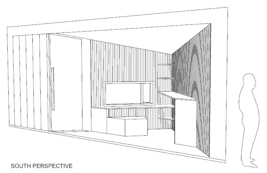 "architectural drawing labeled ""south perspective"" of interior, window, and shelves, with figure for scale"