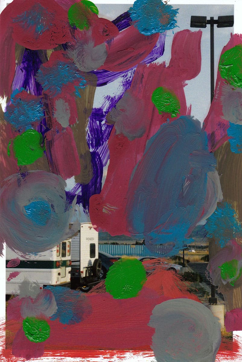 abstract painting over printed image