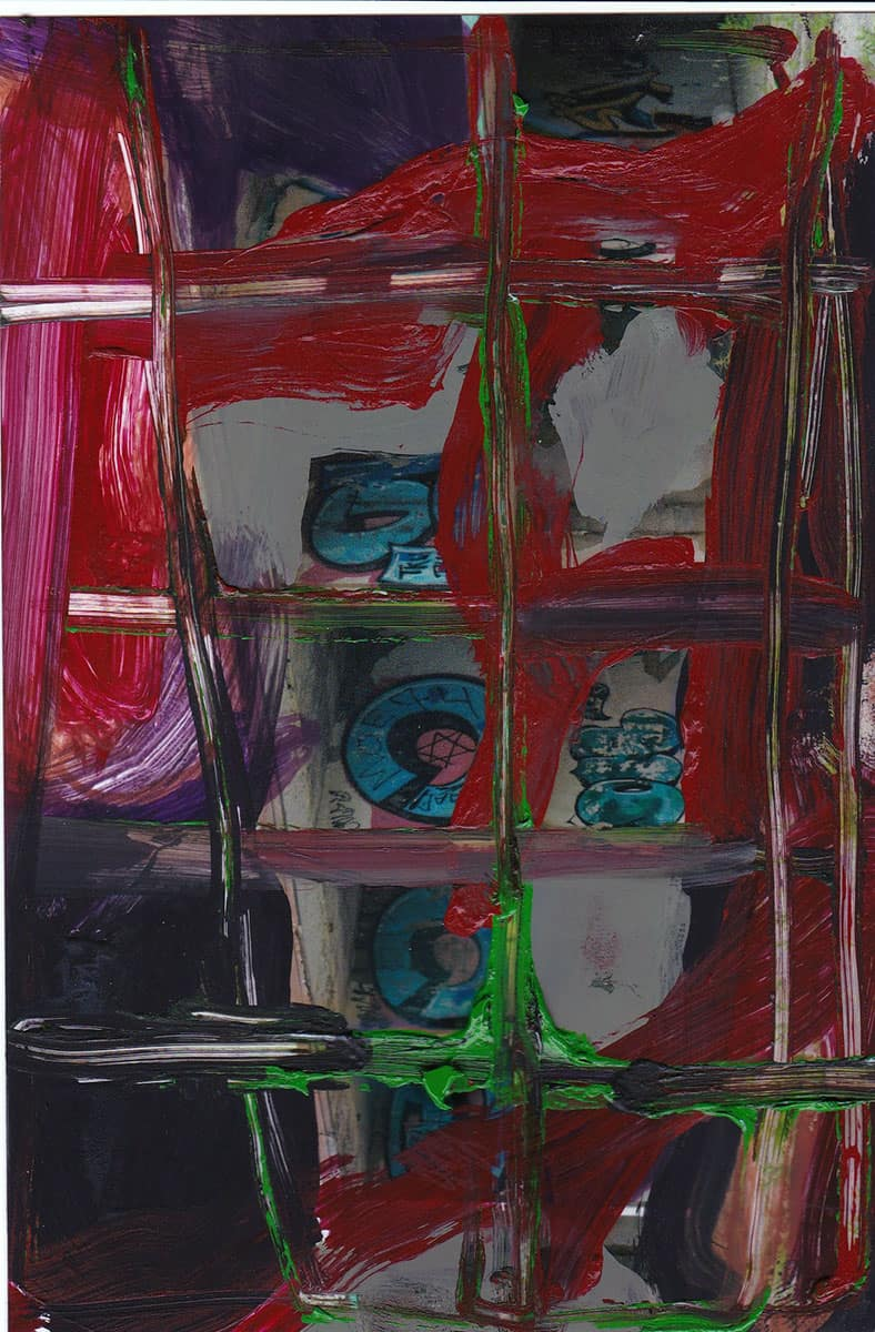 abstract painting, primarily red, black, green, blue