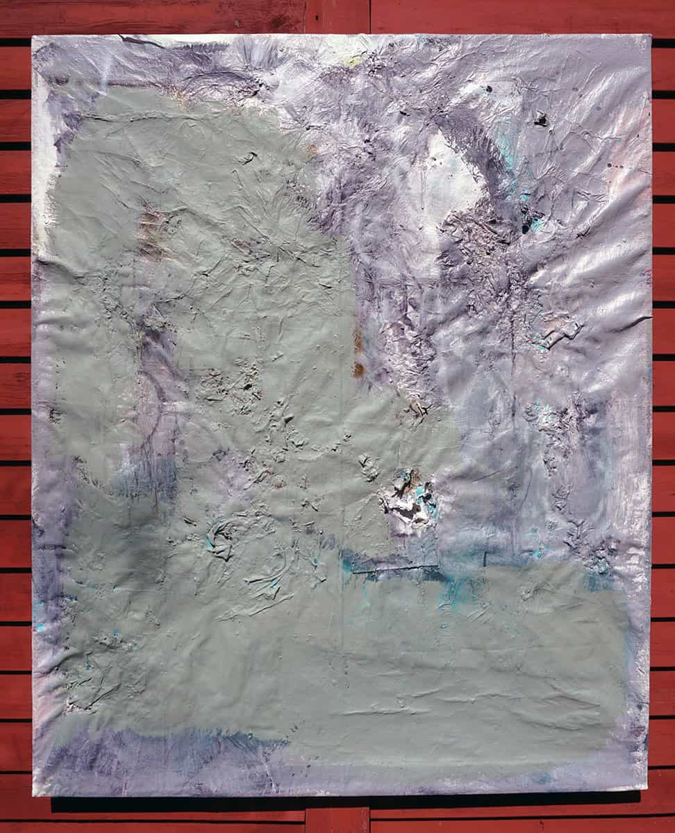 abstract painting, primarily grey and purple