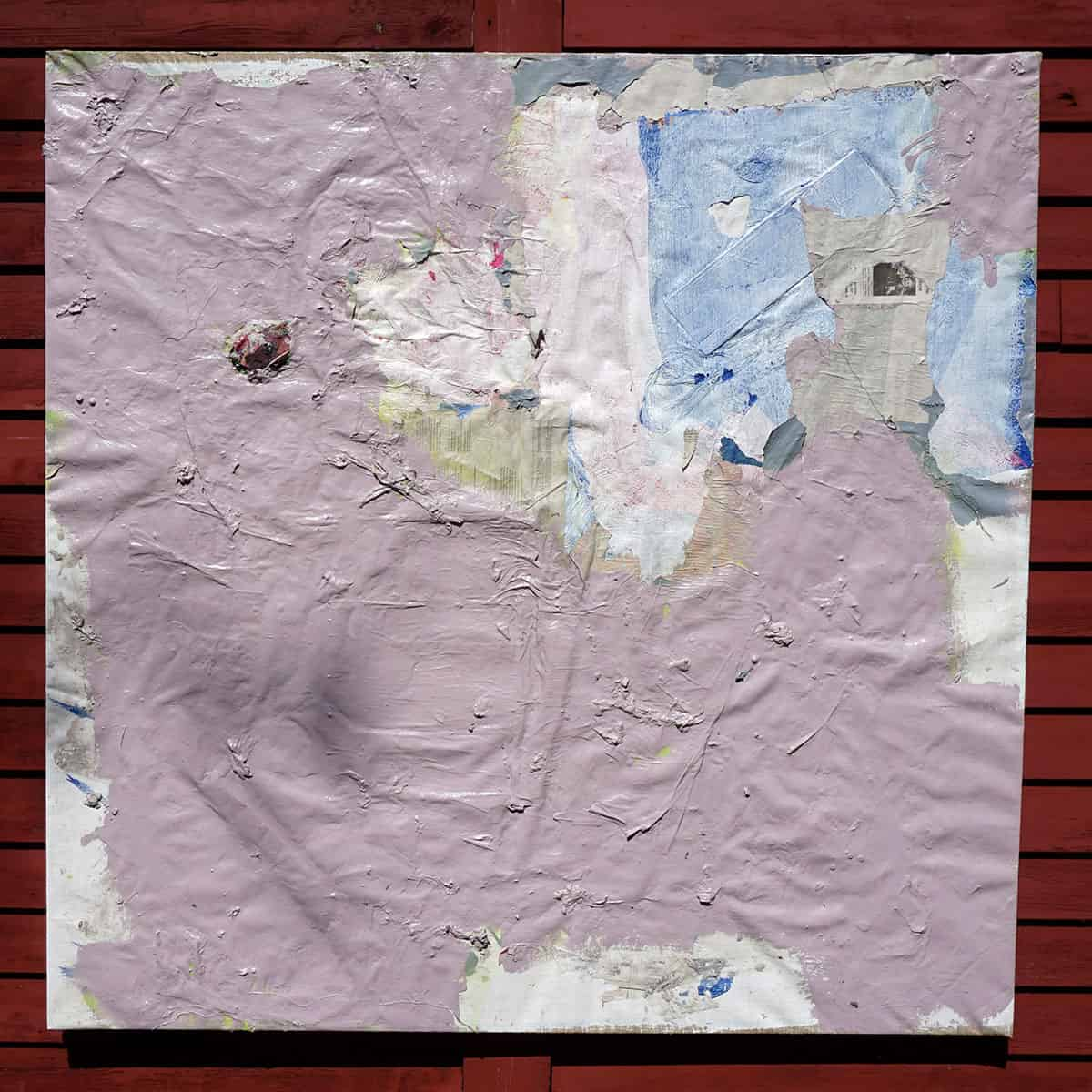 square abstract painting, primarily pink and white