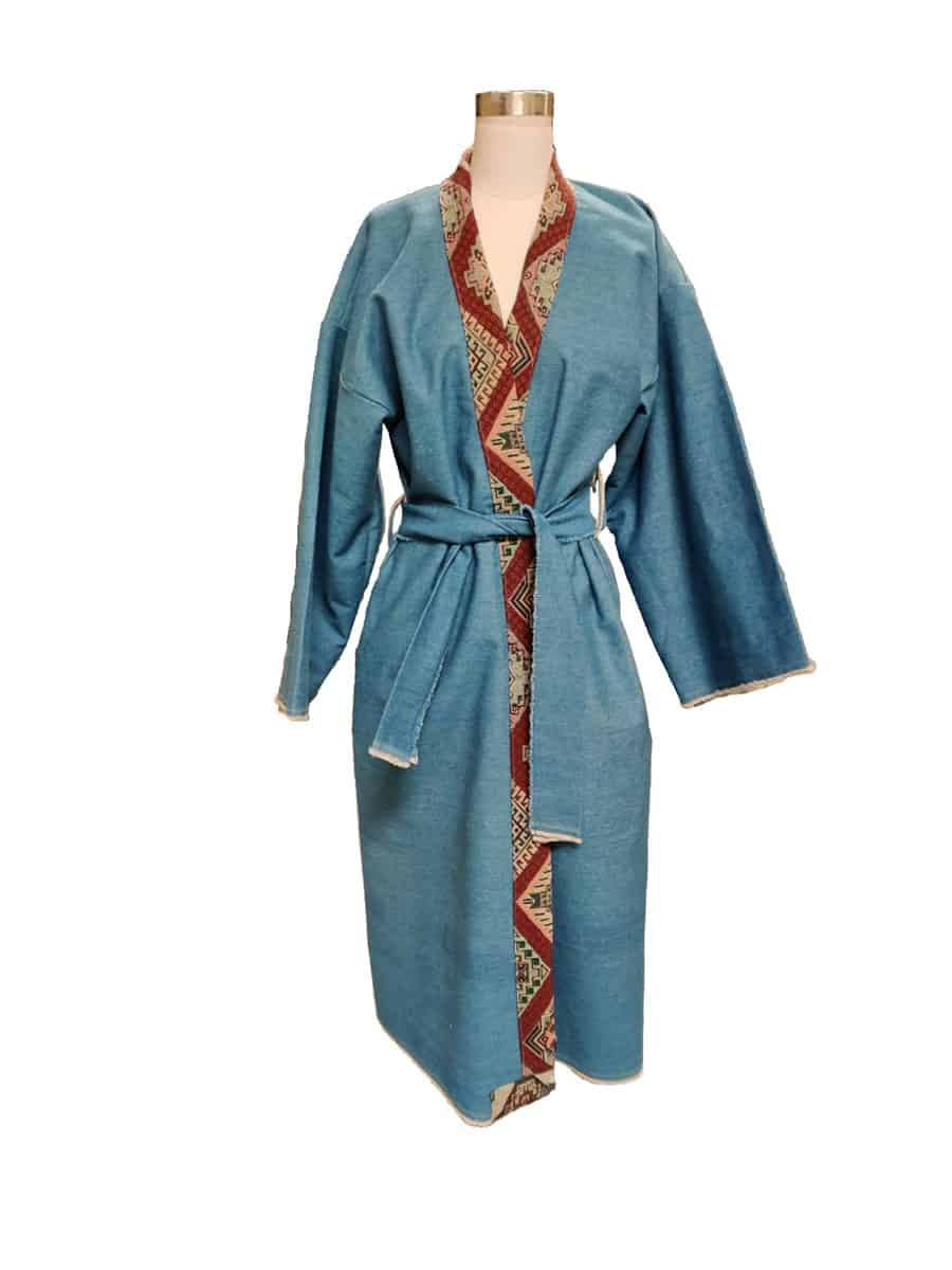 light blue denim robe on mannequin
