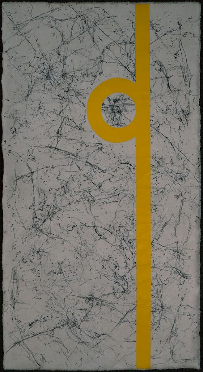painting of yellow line and circle over abstract white and black pattern