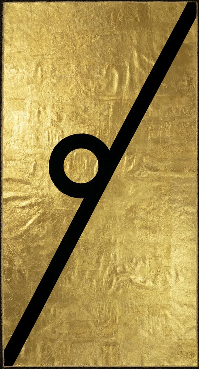 painting of black line with a circle on gold