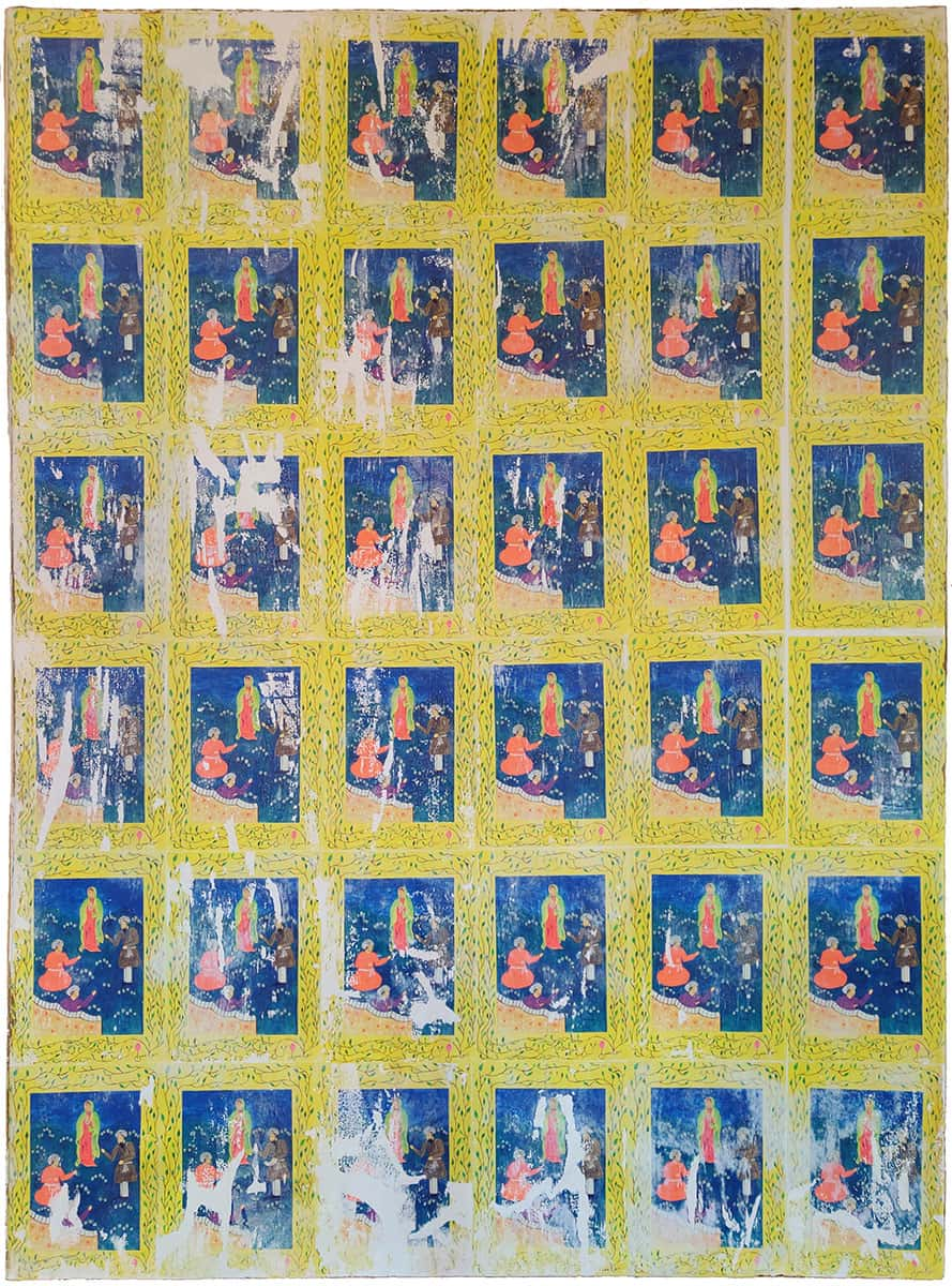 painting of 6x6 grid of the same image: 3 figures on a blue and yellow background with a vine pattern border