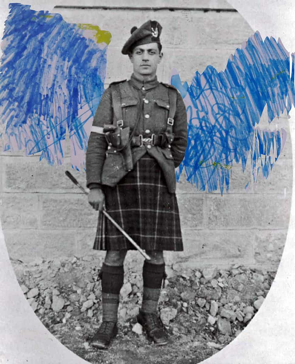 digital collage of black and white photograph of man wearing a uniform and scribbled marks in the shape of wings.