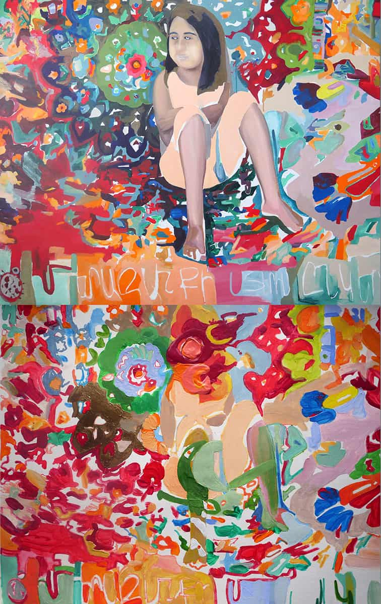 abstract colorful painting with figure of girl repeated twice