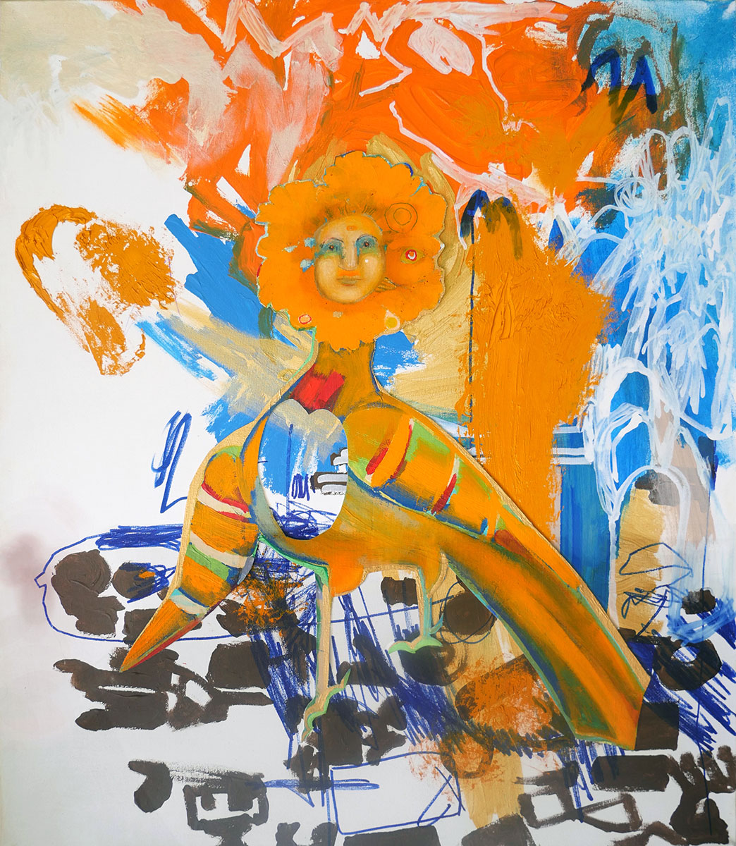 painting in blues and oranges of a bird-like creature with human face