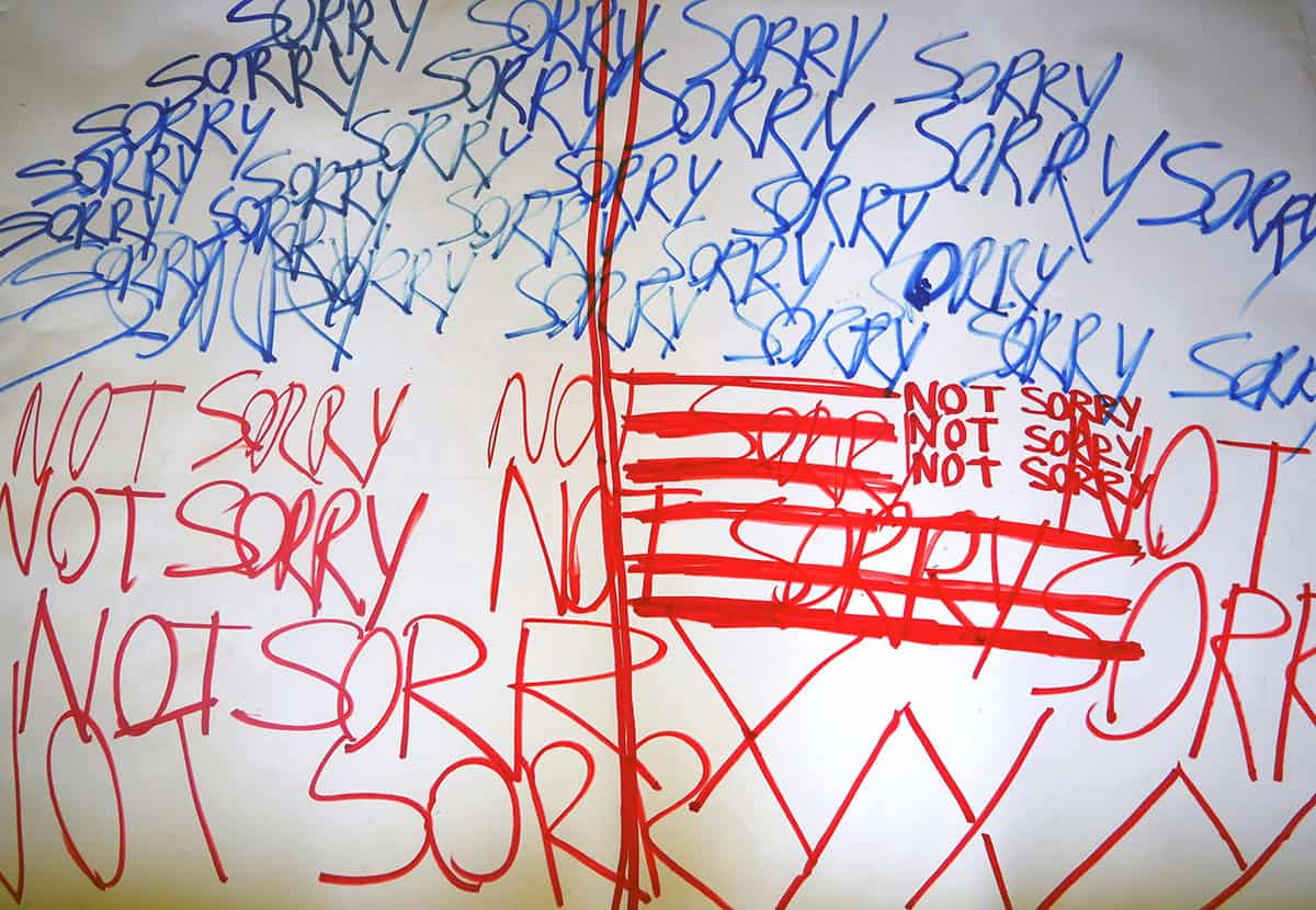 """drawing of the words """"sorry"""" (in blue) and """"not sorry"""" in red on white paper, suggesting and referencing the American flag"""
