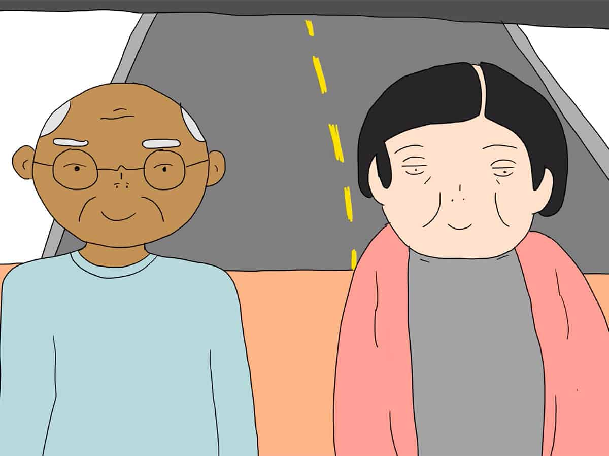 still from animation of two figures riding a bus