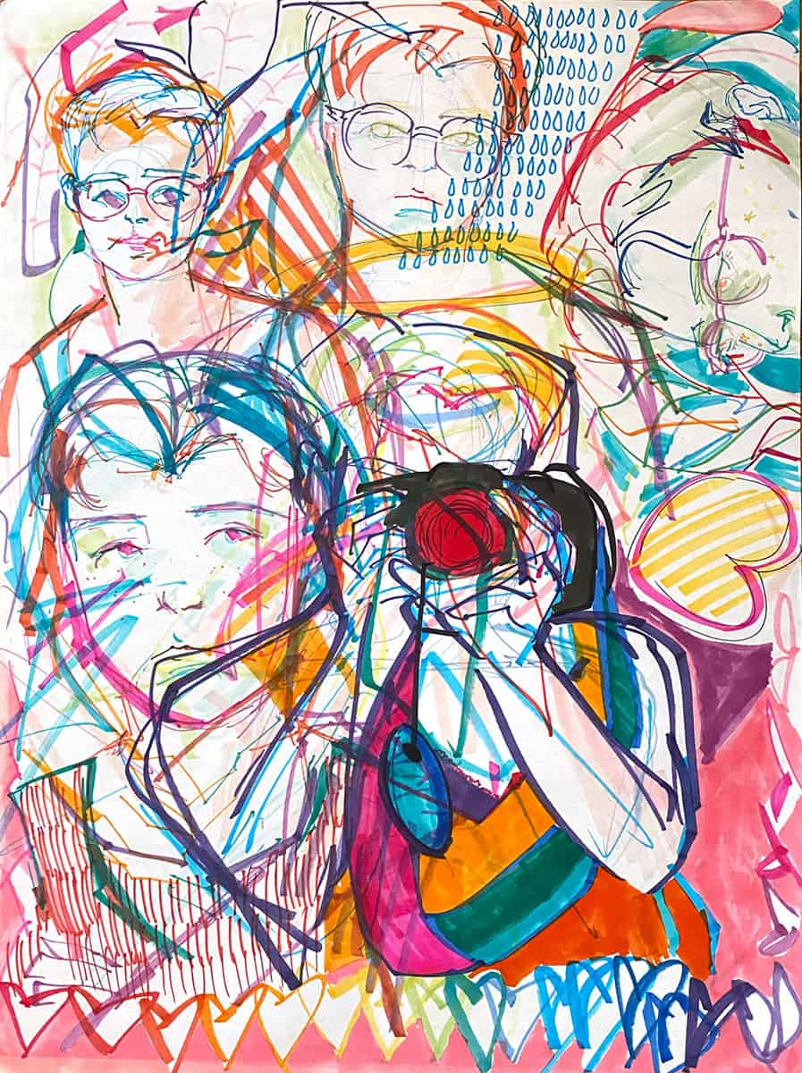 colorful marker drawing of overlaid figures, patterns, shapes