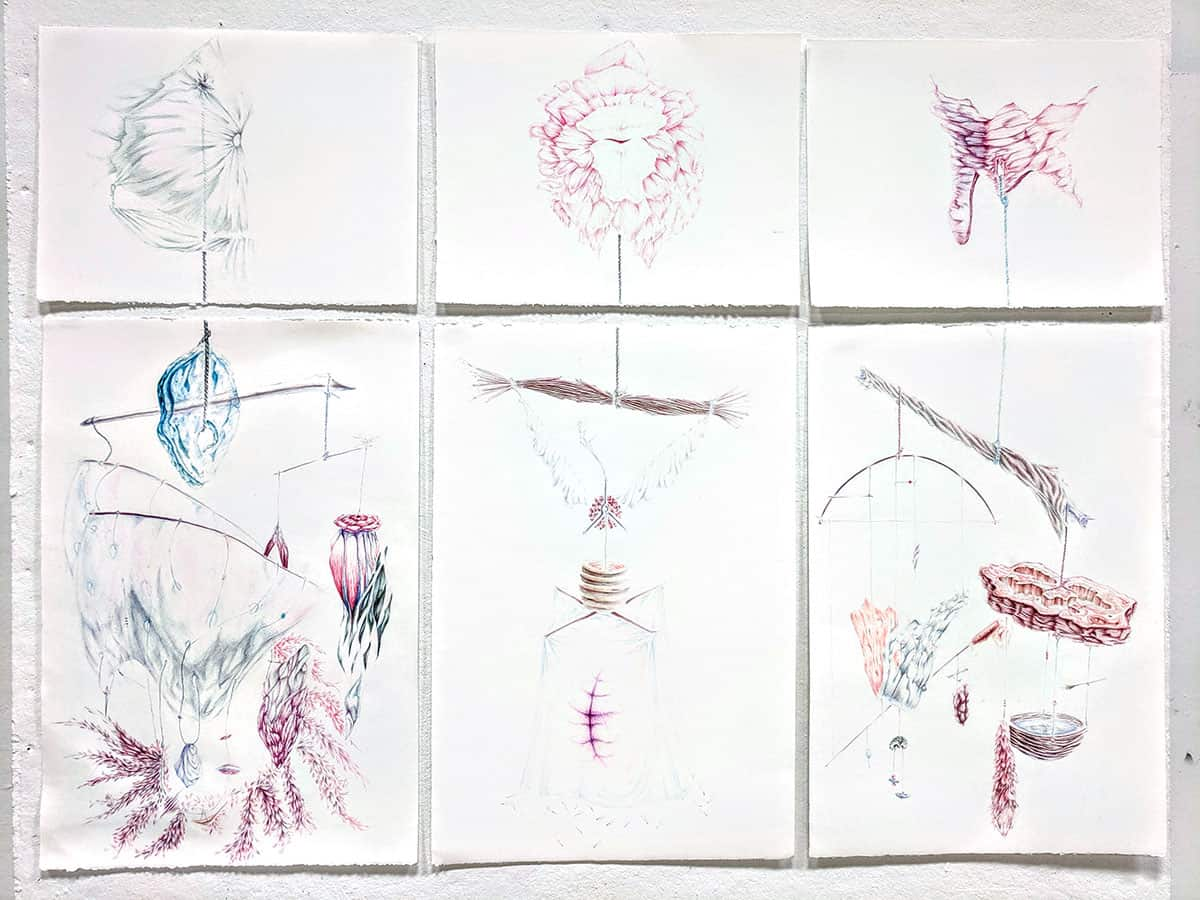 drawing over six pieces of paper of hanging mobile made from natural materials, drawn in blues and pinks and purples
