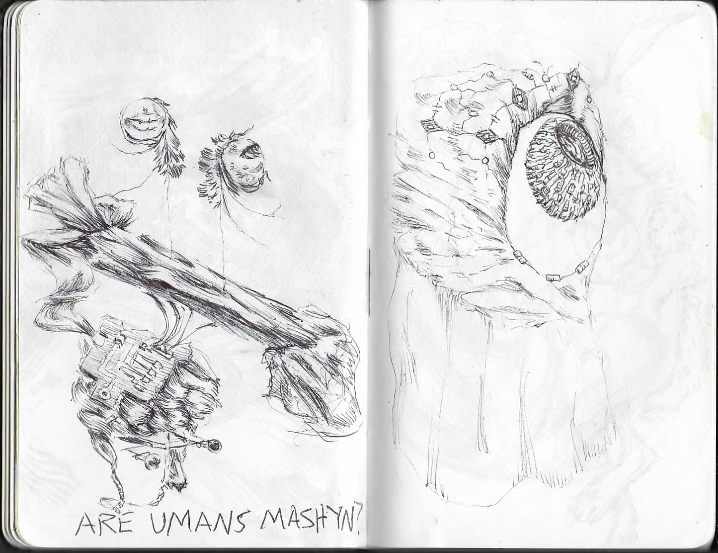 """drawing of abstract natural forms, on the right like a chicken creature with eyes on stalks with the text """"ARE UMANS MACHYN?"""", on the right eyeball-like"""