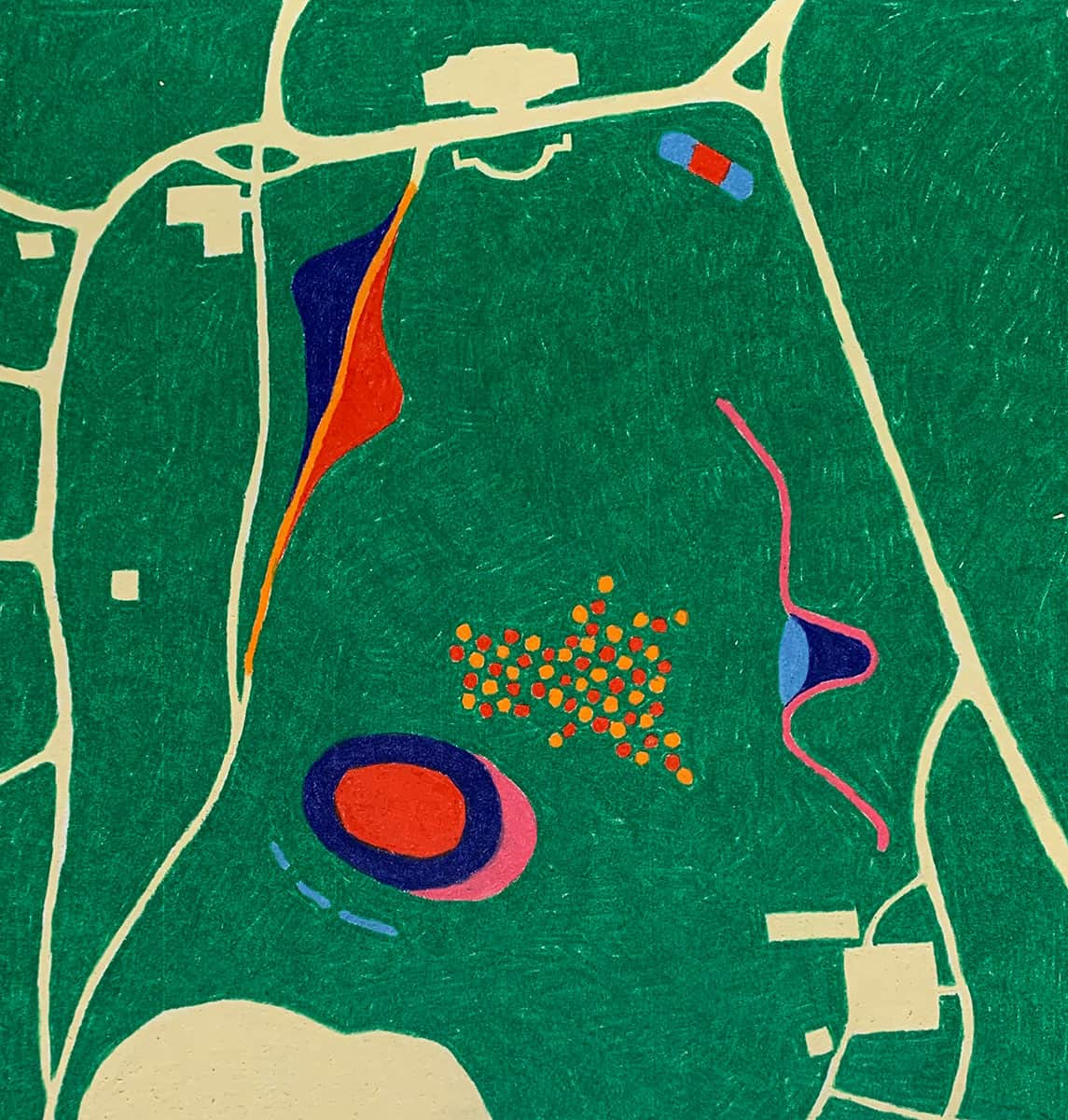 colorful drawing resembling a map, mostly green with tan roads around the edges and brightly colorful abstract shapes in the center