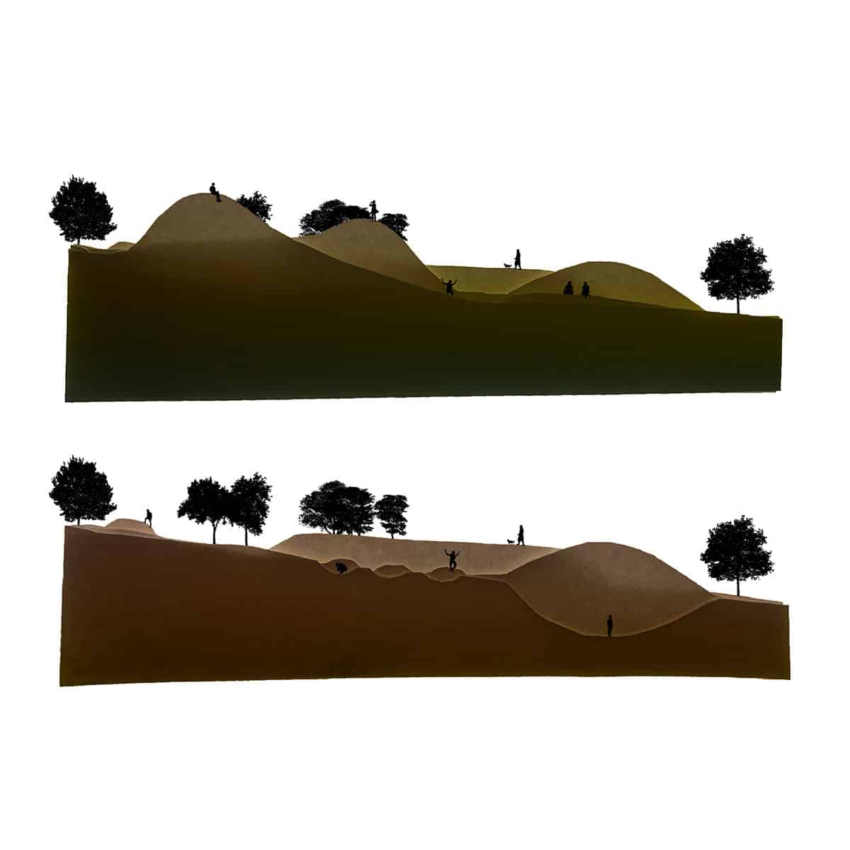 two digital elevations of hills and ditches, with figures and trees