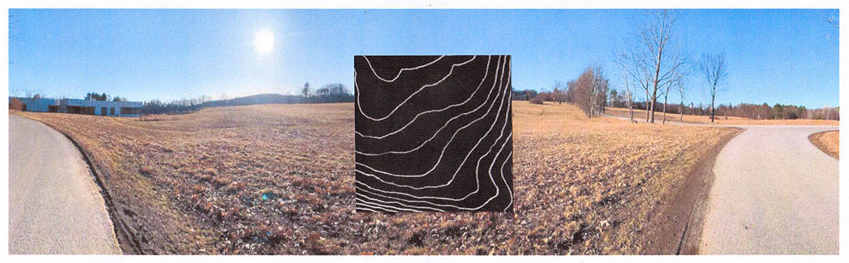 topographical drawing in white chalk on black paper collaged in the middle of a photograph of a field with roads turning away to the right and left edges
