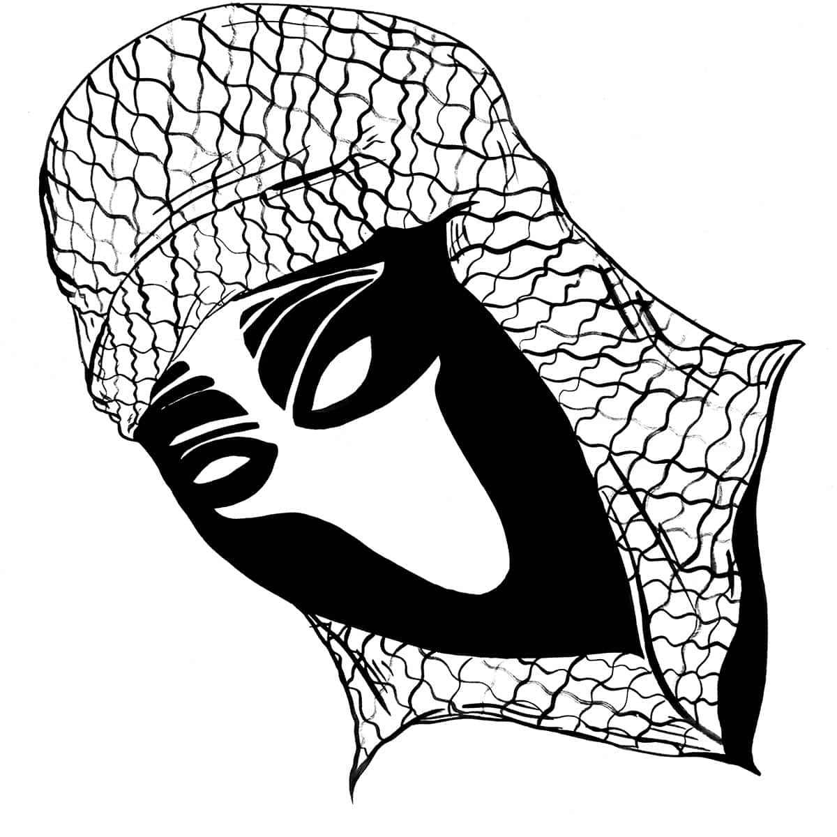 drawing of alien-like face wearing head scarf.