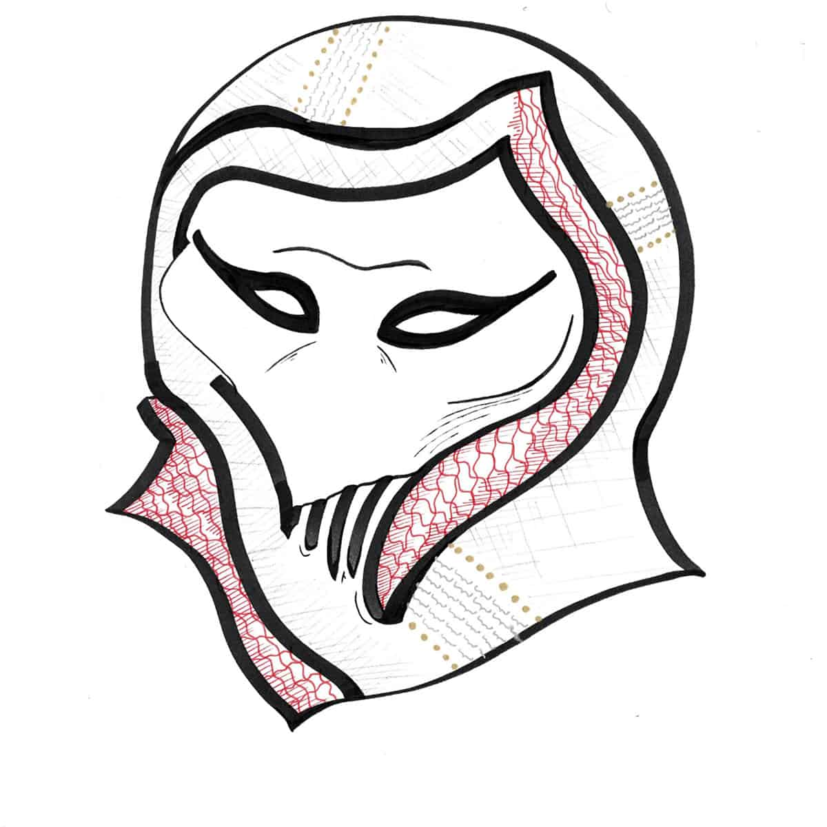 drawing of alien-like head wearing head scarf