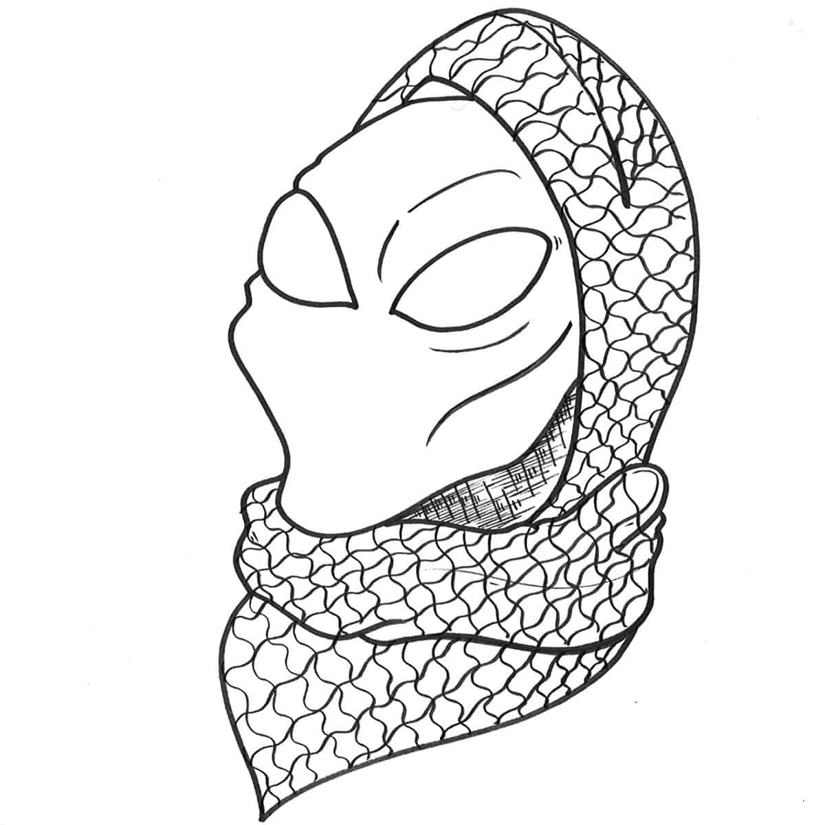 drawing of bust, alien-like face wearing a head scarf