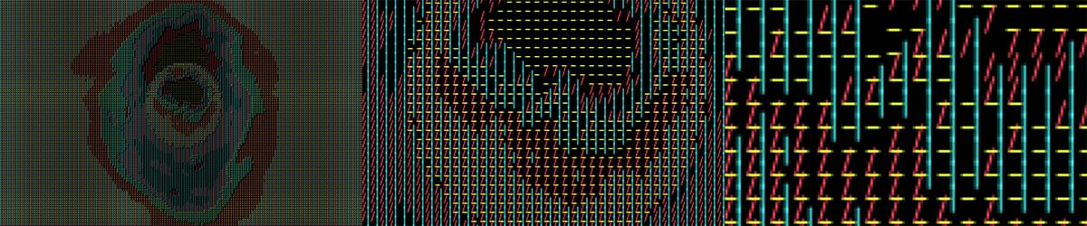 digital image made of red, yellow, teal colored lines on black background