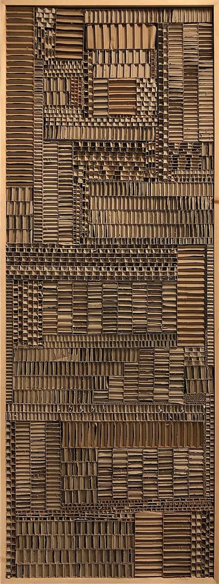 rectangular screen made of cardboard sections
