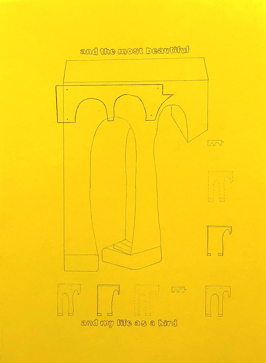 "yellow architectural drawing with text ""and the most beautiful"" & ""and my life as a bird"""