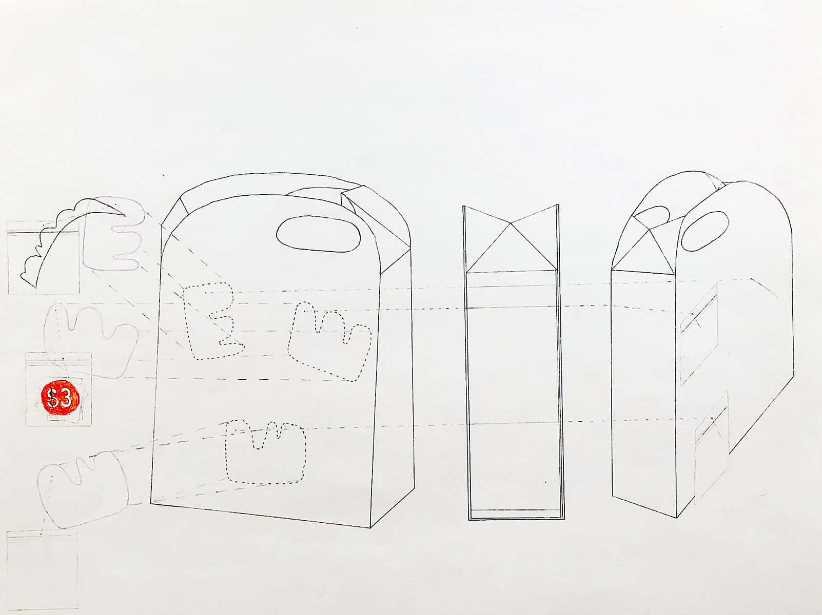 drawing of homemade paper bags