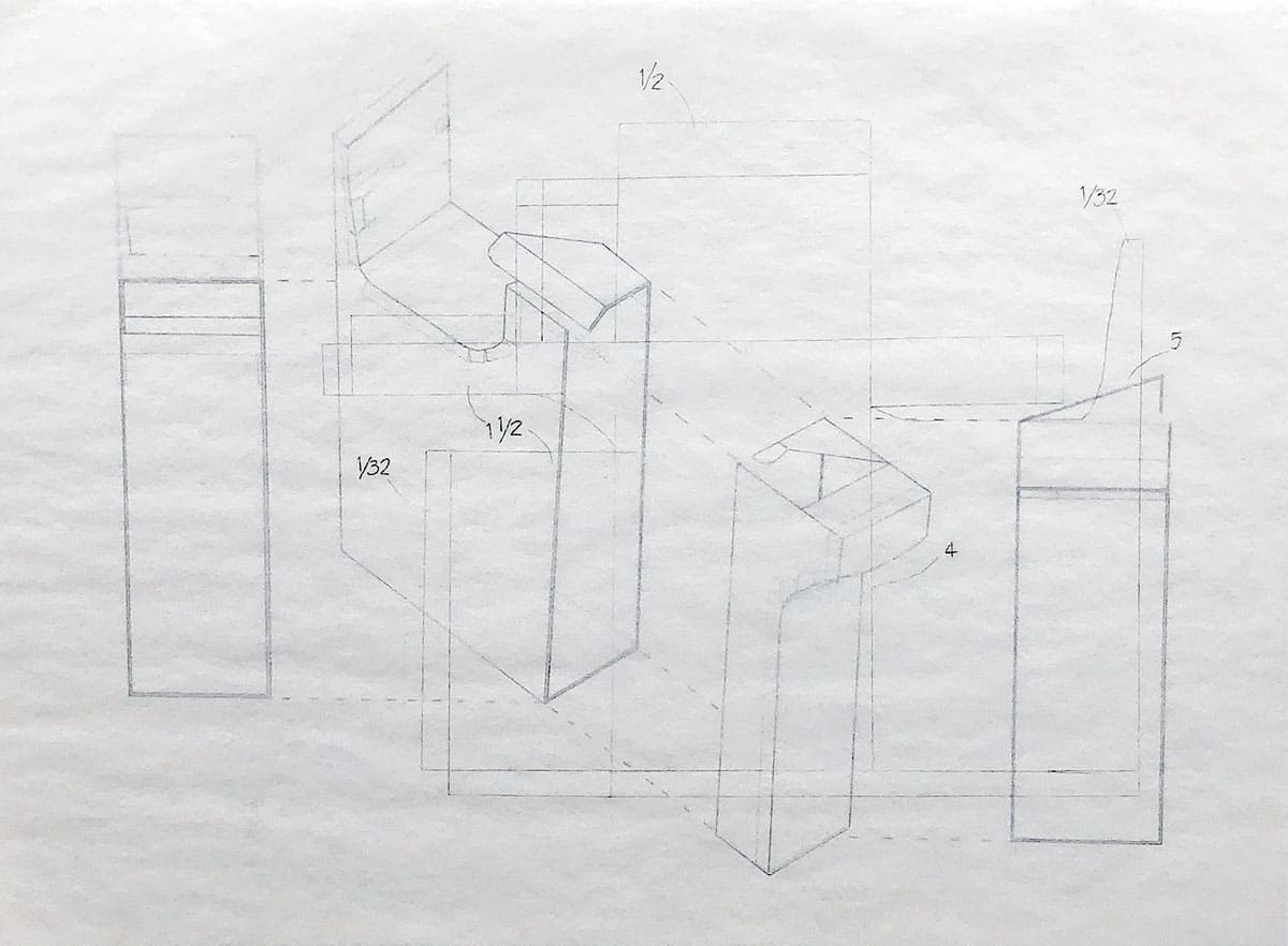 architectural drawing of different angles of a book nook.