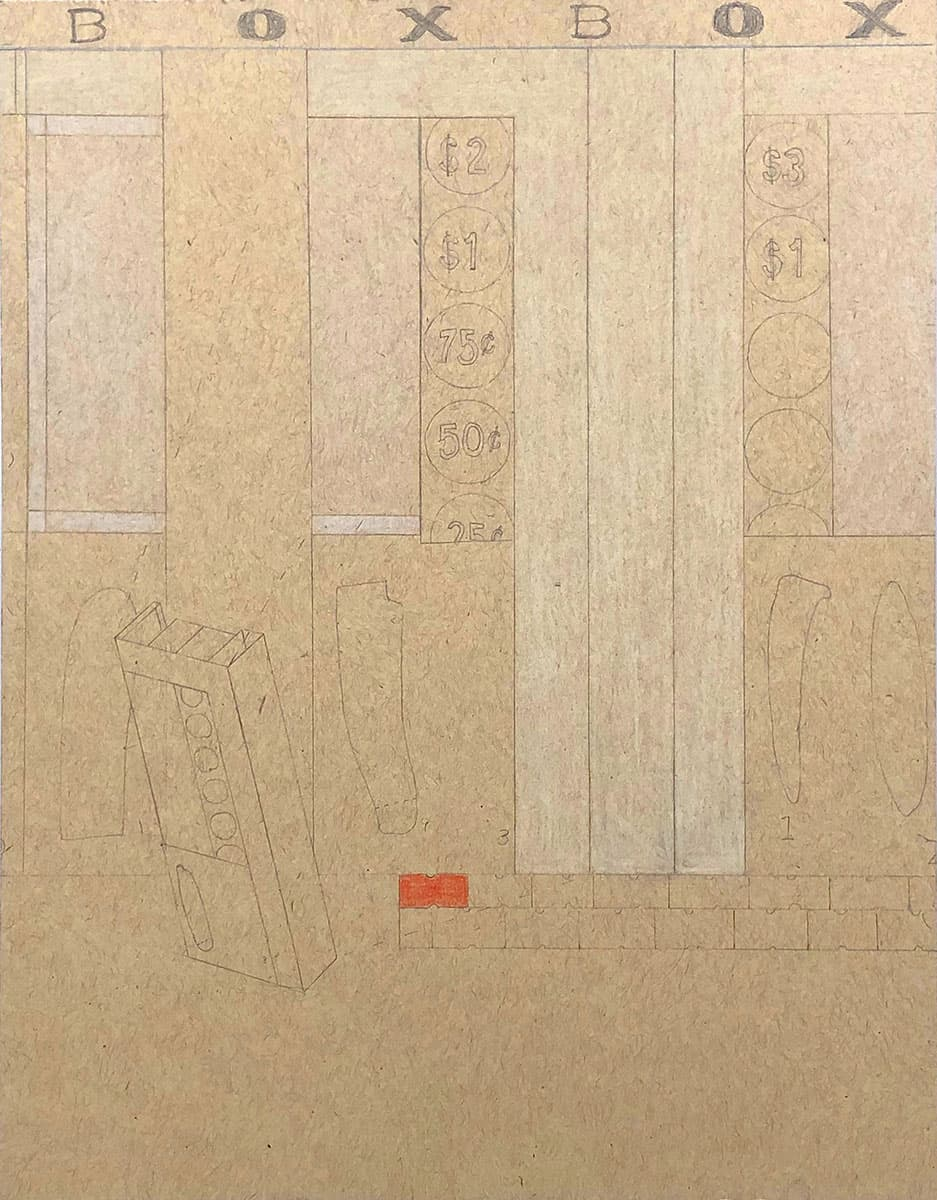 """drawing on cardstock with rectangular sections, drawings of price stickers, text reading """"box box"""""""