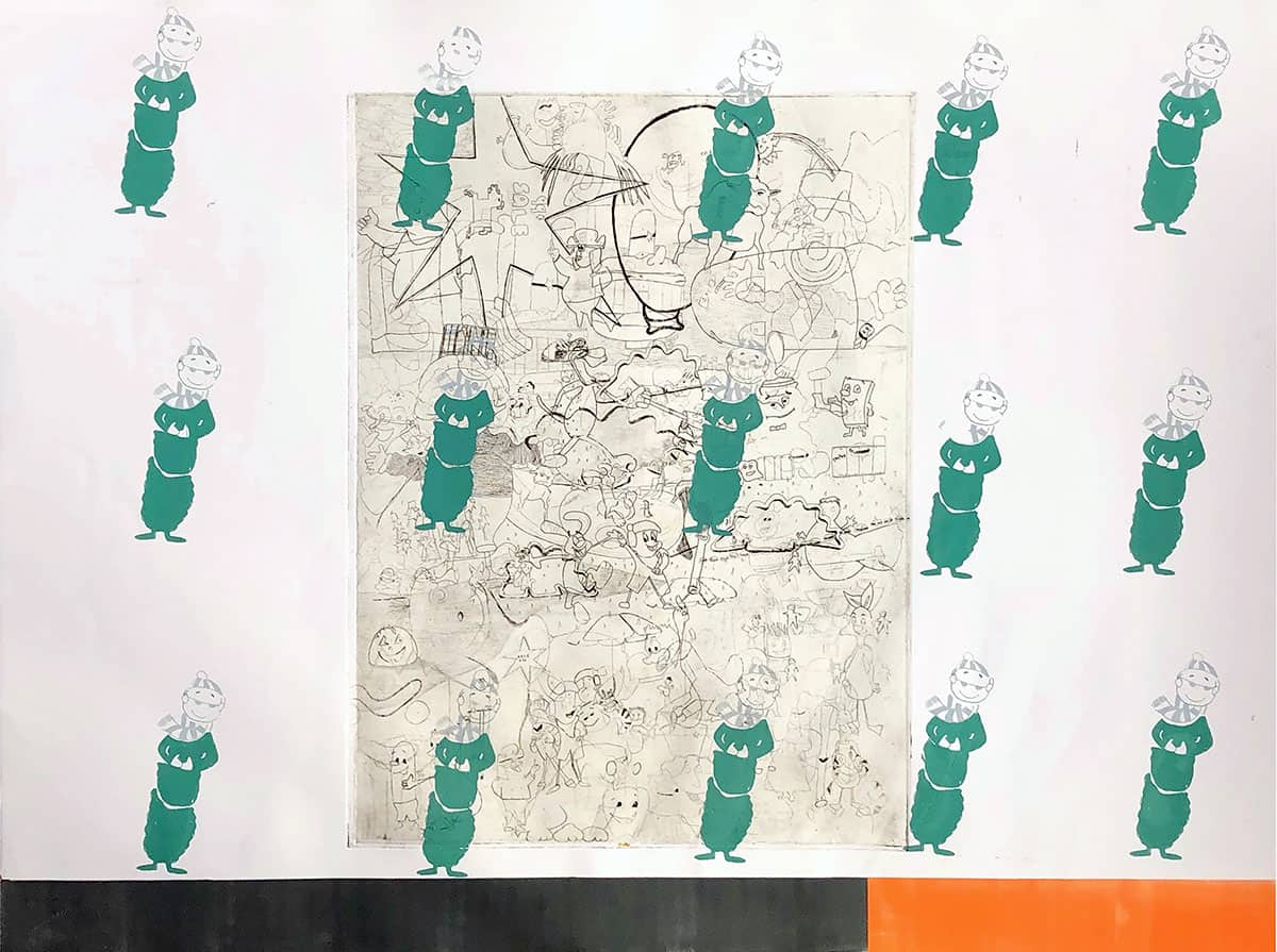 intaglio print of scene with many mascot characters, overlaid with 15 silkscreen and monoprint additions.