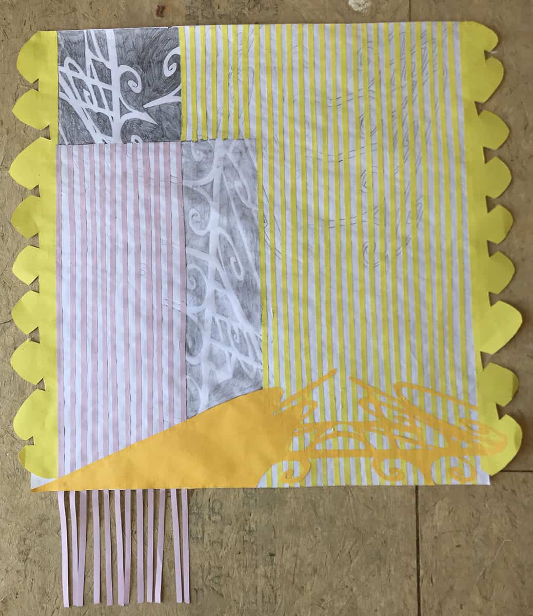 print with stripe pattern, abstract drawn shapes, scalloped edge and fringe