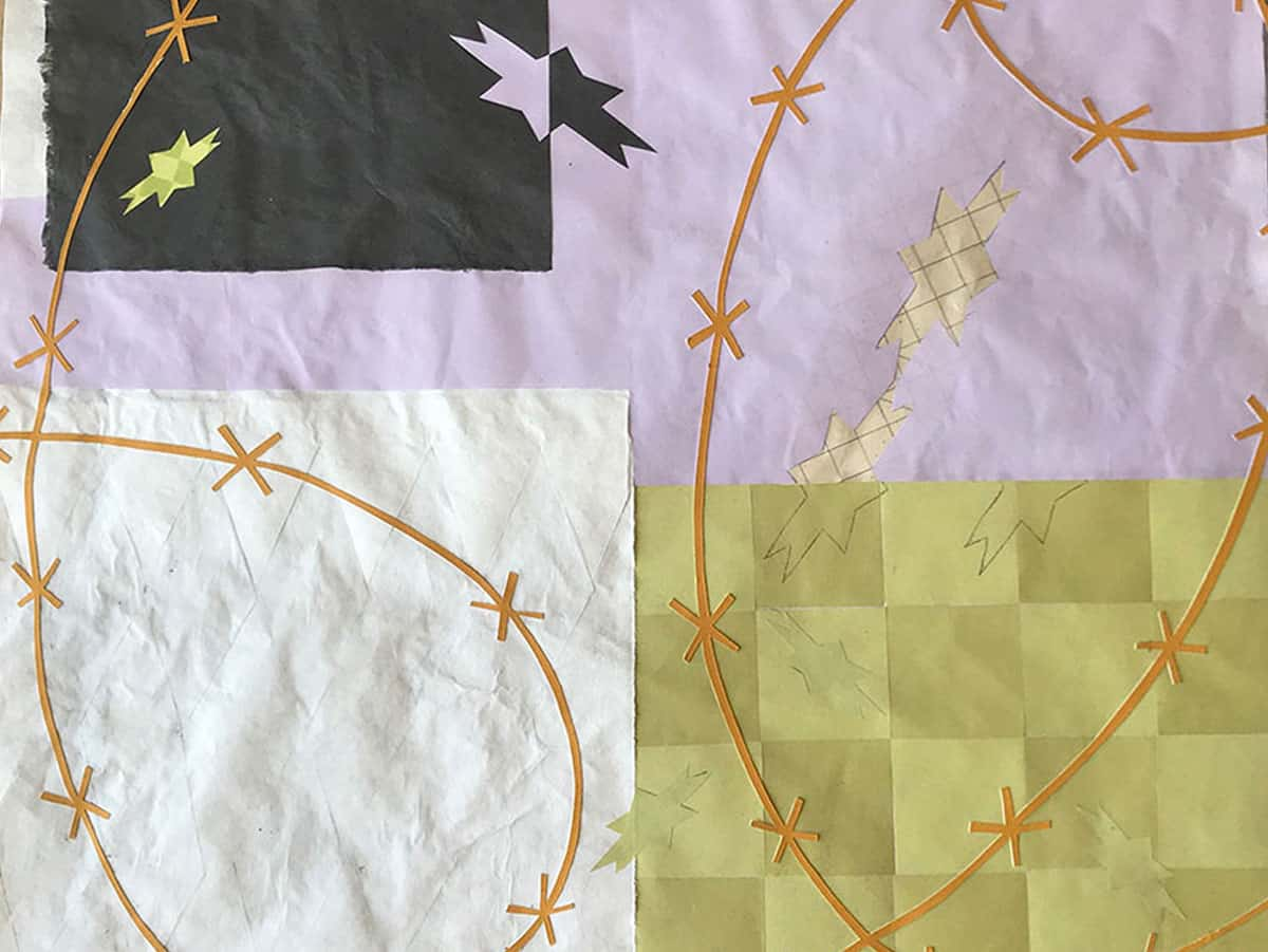 paper collage in yellow checkerboard, pink and white with orange lines and star shapes