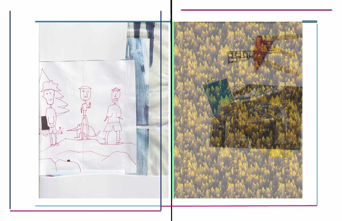 collage of drawing of three figures, found image of yellow flowers